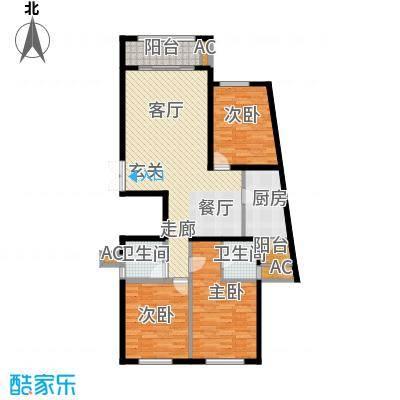湘银纳帕溪谷135.12㎡三室二厅二卫户型3室2厅2卫