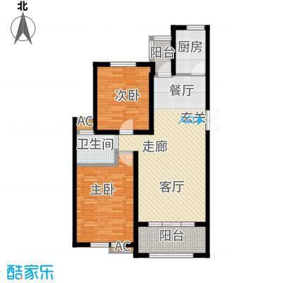湘银纳帕溪谷95.46㎡二室二厅二卫户型2室2厅2卫