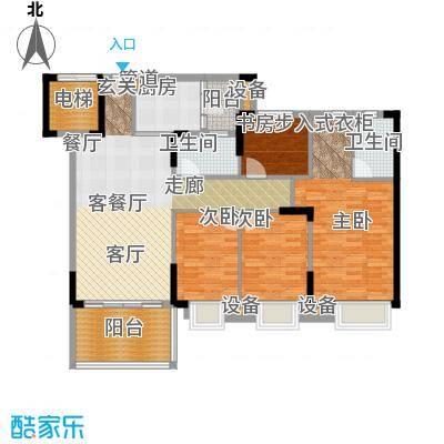 滨江一号136.00㎡D户型04单元:香榭丽舍1、2、3栋户型4室2厅2卫