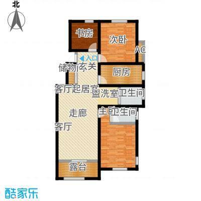 学府华园114.67㎡书香润庭户型3室2厅1卫-T