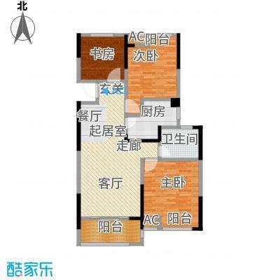 绿地中央广场108.00㎡7号楼C户型 3室2厅1卫户型3室2厅1卫