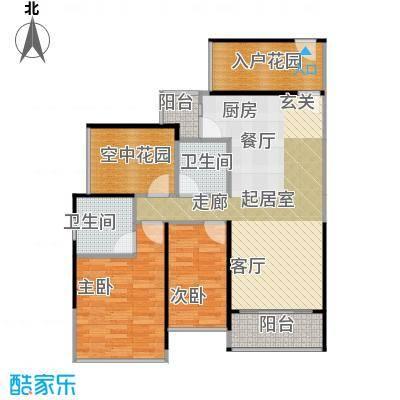 凯南莱弗城93.17㎡E户型2房2厅2卫93.17平米户型2室2厅2卫