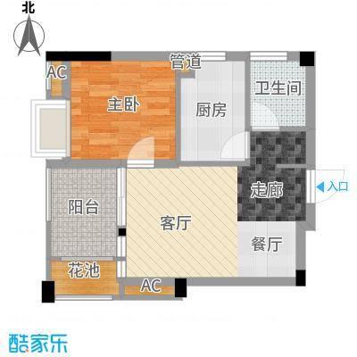招商假日36550.72㎡6、7#B户型1室2厅1卫