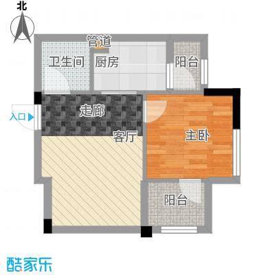 招商假日36543.00㎡43㎡一房一厅一卫两阳台户型1室1厅1卫