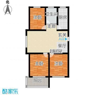 龙凤花园108.00㎡B户型 三室两厅一卫户型3室2厅1卫
