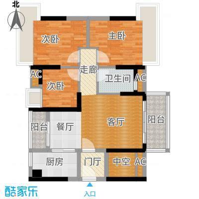 万科柏悦湾89.00㎡D户型89平三房两厅户型3室2厅2卫