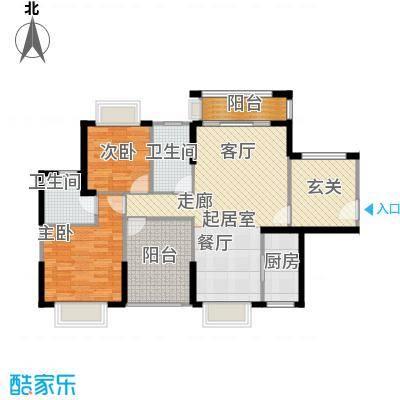 龙光天悦龙庭113.80㎡D1户型2室2厅2卫