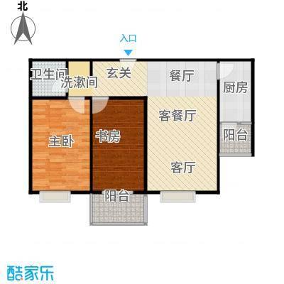 左岸春天86.00㎡一厅一卫86平米C户型2室1厅1卫