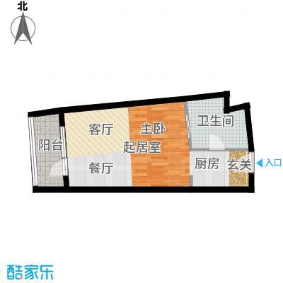 海天翼A户型54.97-55.49平米一室一厅一厨一卫 54.97平米户型1室1厅1卫