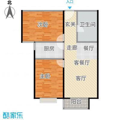 左岸春天89.55㎡一室两厅一卫89.55平米B户型1室2厅1卫