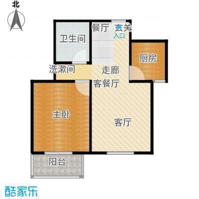 左岸春天60.73㎡一室两厅一卫60.73平米B户型1室2厅1卫