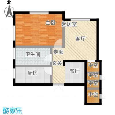 丽景中央公馆户型1室1卫1厨