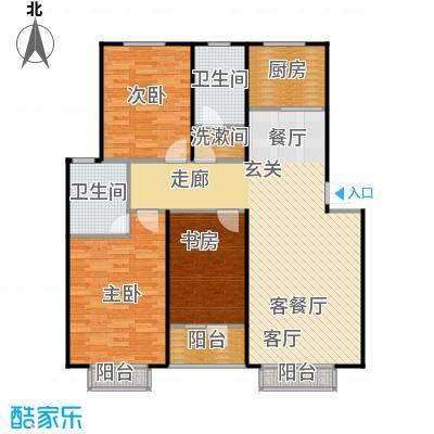 左岸春天126.80㎡两厅两卫126.8平米A户型2室2厅