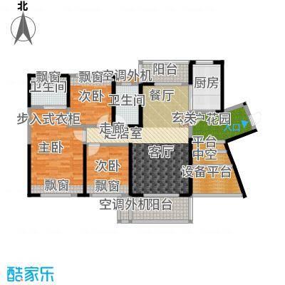 建大领秀城124.00㎡8栋01单元户型图户型3室2厅2卫