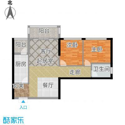 金色港湾91.00㎡两室两厅一卫户型2室2厅1卫