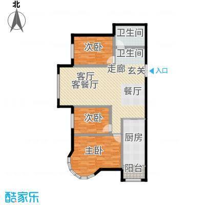 特变水木融城四期户型3室1厅1卫1厨