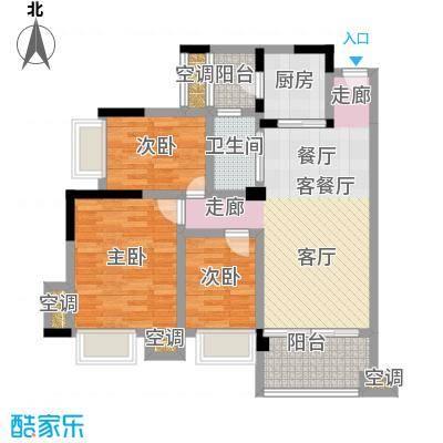 幸福湾88.00㎡5栋03单位88平三房户型图户型3室2厅1卫