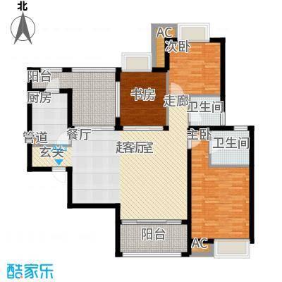 新华联广场129.20㎡D-2户型3室2厅2卫户型3室2厅2卫