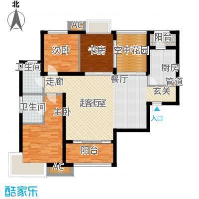 新华联广场125.40㎡D-1户型3室2厅2卫户型3室2厅2卫