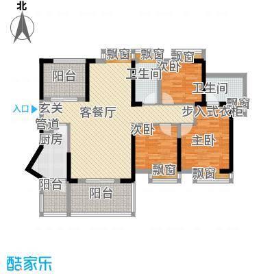 御玺山114.38㎡1-6栋A2三房二厅二卫户型3室2厅2卫