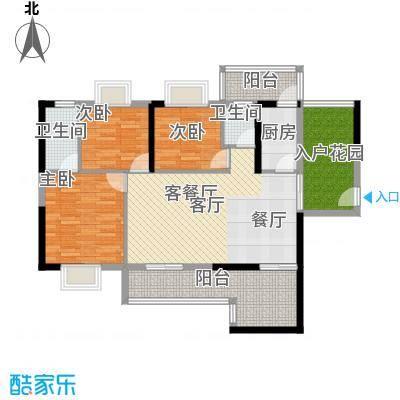 花香四季雅苑107.55㎡107.55平米三房两厅两卫户型3室2厅2卫