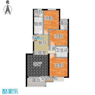 河海丽湾101.42㎡户型图户型3室2厅1卫