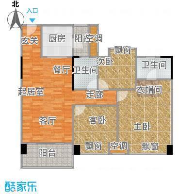大自然广场102.52㎡7幢01户型3室2厅2卫