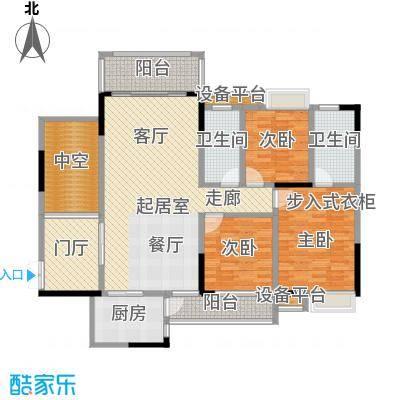 深业半山小腕108.28㎡C户型三房二厅二卫108.28户型3室2厅3卫