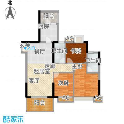 大信时尚家园100.28㎡A户型:1、3栋04单元和2、4栋01单元 三房二厅二卫户型3室2厅2卫