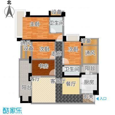 雅居乐铂爵山142.00㎡142平米三四房户型4室2厅2卫