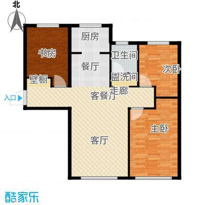 君豪御园104.76㎡L户型3室2厅1卫