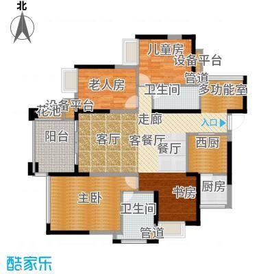 建曙高尔夫1号121.00㎡A1-3户型 4房2厅2卫1入户花园户型
