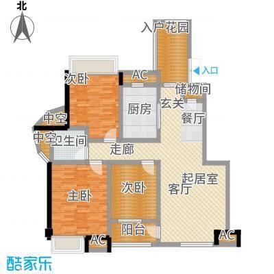 明发锦绣银山B区3-4B2户型3室2厅1卫-T