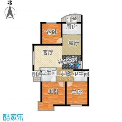 世贸皇冠花园128.50㎡世贸皇冠花园 户型图户型2室2厅2卫