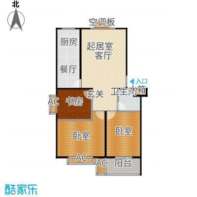 滨海花园97.24㎡A 户型 三室一厅一卫户型3室1厅1卫