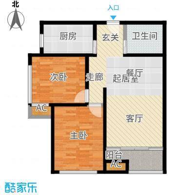 佳诚长安集82平米两室两厅户型CC