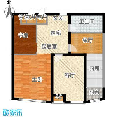 潍坊东方明珠88.00㎡C户型 两室两厅一卫户型2室2厅1卫