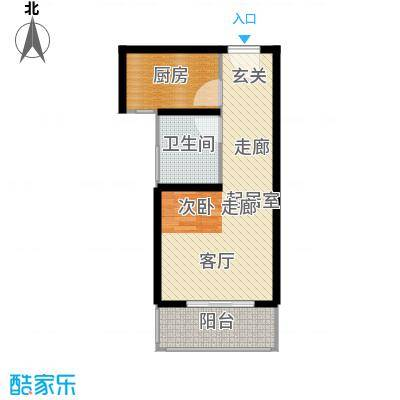 新城湖光山舍52.09㎡14#N户型 一室一厅一卫户型1室1厅1卫