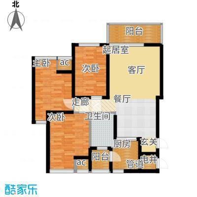 万盛凤凰城3#01、09单元4#01单元(2+1)房2厅1卫,约86㎡户型3室2厅1卫