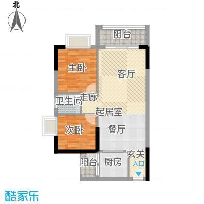 香海湾75.86㎡3栋01型2室2厅1卫户型2室2厅1卫