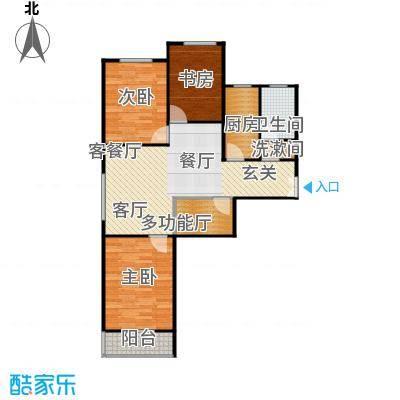左岸春天108.00㎡三室两厅一卫108平米A户型3室2厅1卫