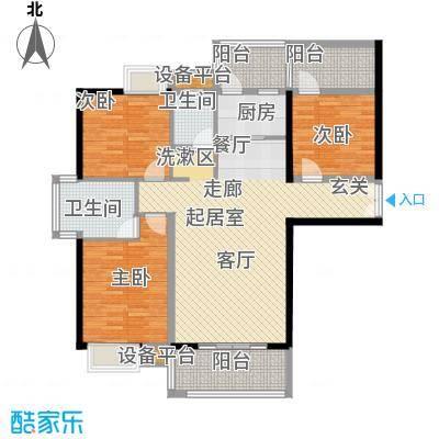 富雅国际(2+1)房两厅两卫(2+1)阳台,约112.5㎡户型