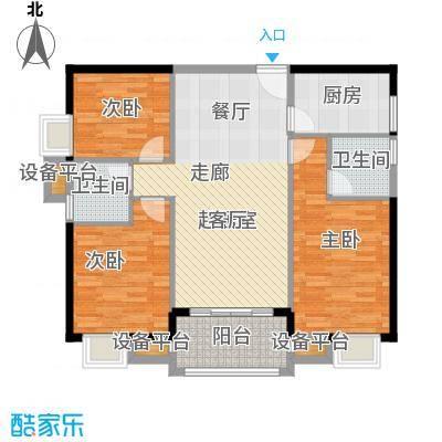 富雅国际三房两厅两卫一阳台,约116.5㎡户型