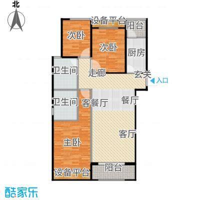 广厦财富中心122.00㎡C2户型 三室两厅两卫户型3室2厅2卫