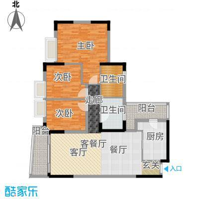 银信花园125.00㎡125平米 三房二厅二卫户型3室2厅2卫
