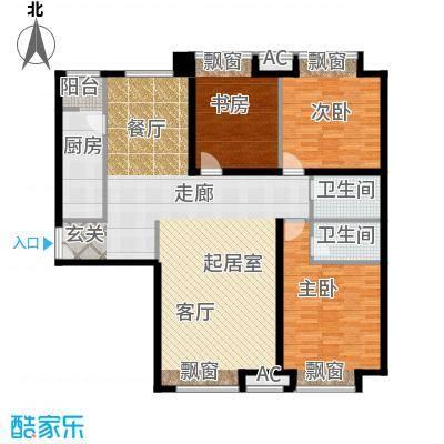 soho时代一天厦三房两厅两卫140平南北通房型户型