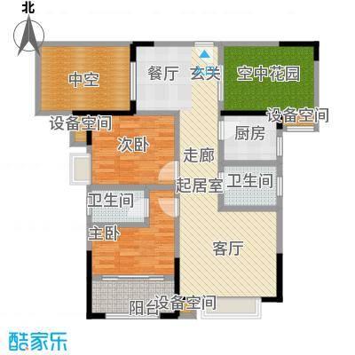 益阳山水华庭空间布局方正紧凑实用动静分离户型2室2卫1厨
