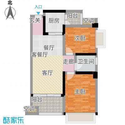 幸福湾80.00㎡5栋04单位80平三房户型图户型2室2厅1卫