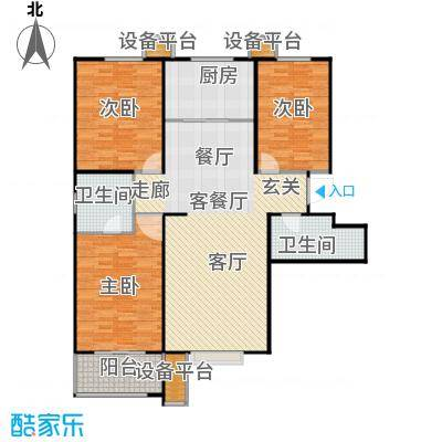 盛和嘉园125.00㎡C-1户型三室两厅两卫户型3室2厅2卫