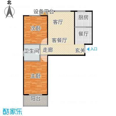 盛和嘉园95.00㎡22楼D-1户型 两室两厅一卫户型2室2厅1卫